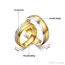 Promotion bague de fiançailles en titane or Haute qualité bague en titane acier classique 18k or de fiançailles Couple anneaux pour les femmes et les hommes anneaux de mariage