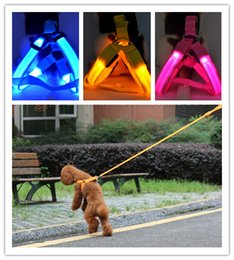 Wholesale 30 off Colors Battery Operated LED Flashing Dog Harness Collar Belt Pet Cat Dog Tether Safety Light Collars Pet supplies By DHL