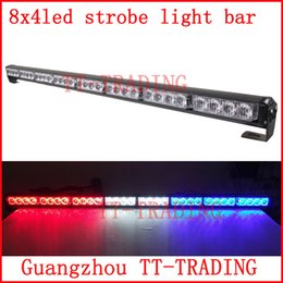 Wholesale 8x4 led Police strobe lights vehicle strobe light bar car warning lights led emergency strobe lights DC12V RED BLUE WHITE AMBER