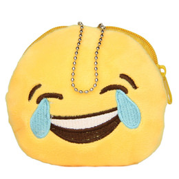Wholesale-Emoticon Design Round Girls Purse Smiley Bag Hanged Chain Coin Wallet E1Xc