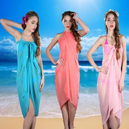 NEW Swimsuits Chiffon Sarong Classic Candy Colors Women Bikini Veil Cover-Up Dress Multifunctional Beach Wrapped Silk Towel 10Pcs Lot