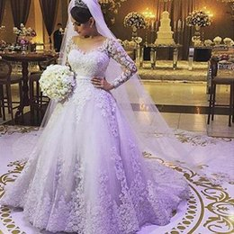 Gorgeous Real Picture Lace Winter Wedding Dresses Long Sleeve 2015 Applique V-Neck A-line Chapel Train Bridal Dresses Ball Gowns Custom