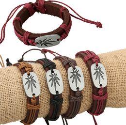 leather bracelet women's bracelets lucky grass design 2016 cool jewelry adjustable cuff men's wristband bangle cuff Free Shipping