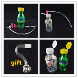Wholesale Stoned Mini Plastic Oil Rig Beverage Cans Water Bongs Portable Smoking Bongs with mm joint Inch Mineral Water Bottles Hookahs on Sale
