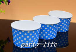 1000pcs small Blue with white Polka Dot ice cream paper cup paper bowl, Yogurt paper cup