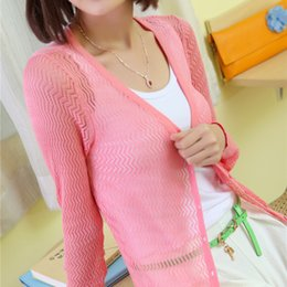Wholesale Yang Mei dress new Korean spring hollow fence slim women knitted cardigan long sleeved sun air conditioning