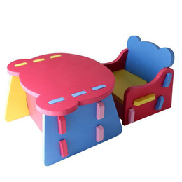 Wholesale Children s furniture DIY joining together baby dining table and chairs special foam anti bump creative inserting tables assemble