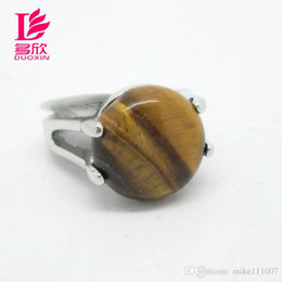Wholesale Mix Style Natural Stone Rings For Women New Assorted Natural Tiger Eye Gemstone Platinum Rings Jewelry