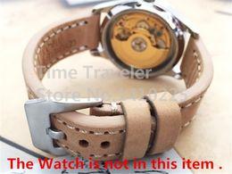 Gros-main Vintage Beige 22 24 26mm vachette bracelet en cuir + Montre-bracelet Band Buckle Men inoxydable Pour Pilot gratuit à partir de bracelet en cuir pilote fabricateur