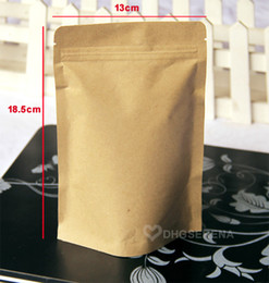 100pcs lot- 13x18.5+4cm Kraft paper stand up bag for tea powder nuts dried food packaging