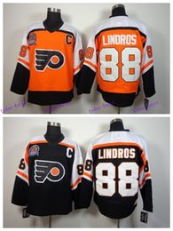 Eric Lindros CCM Philadelphia Flyers Hockey Jersey Cheap Black Orange Throwback Vintage #88 Eric Lindros Jersey Stitched C Patch