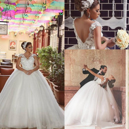 Plus Size Ball Gown Wedding Dresses 2016 Modest Tulle V Neck Capped Sleeve Backless 3D-floral Applique Beads Bridal Gowns Custom Made EN1085