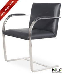 Wholesale MLF Brno Flat Chair Italian Leather Highly Resilient Cushions Single Piece Heat Tempered Stainless Steel and Bent quot C quot Frame