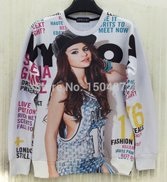 Wholesale 2015 latest style high quality fashion Women Men Magazine beautiful girl Print D Sweatshirts hip hop Hoodies