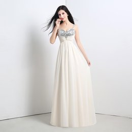 2015 Long chiffon Cheap Prom Dresses with Crystal Sequin Real Picture 100% party Dresses In Stock Champagne Women Gowns Summer Style