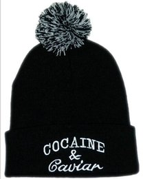 Wholesale Knitted Beanies with Letters for Unisex Acrylic Hats Cocaine with Ball Winter Hiphop Hats Mixed Order Drop Shipping