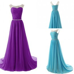 A Line Scoop Bridesmaid dresses Real Photos Purple Light Blue Chiffon 2015 Lower Back Zipper Sleeveless Sweep Train Bridesmaid party dresses