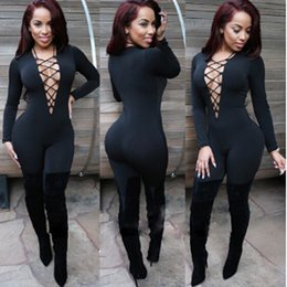 Wholesale Sexy Elastic Jumpsuits - Black Long bodysuit Europe 2016 New Sexy Deep V Neck Lace Up Bodycon Jumpsuit Womens Elastic Slim Long Sleeve Romper