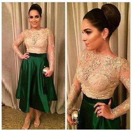 2016 Plus Size Long Sleeves Lace Appliques Evening Dresses Short Prom Party Gowns Tea Length Hunter Green Formal Evening Cocktail Dresses