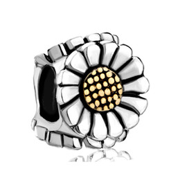 Fashion Jewelry Big Hole High Quality Rhodium Gold Plated Sunflower Lucky European Charm Bead for Bracelet