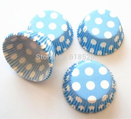Wholesale Light Blue with Big Polka Dot Cupcake Liners Baking Paper Cups Baby Shower Birthday Party Decorations