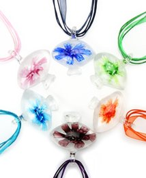 2016 New Fashion Handmade Flower 3D Inside Round Murano Glass pendant necklace Handmade Jewelry Wholesale Lots Colorful Round 6Mix Color