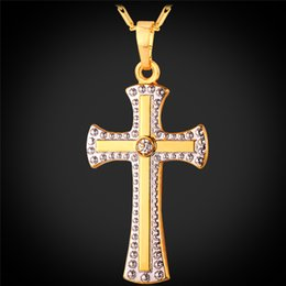 Unisex Cross Jewelry Platinum Gold Plated Rhinestone Necklace for Women Two-tone Gold Plated Cross Necklace Pendant