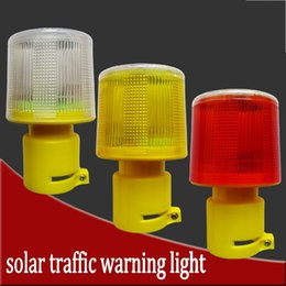 Wholesale 4LED Solar Powered Traffic Warning Light white yellow red LED Solar Safety Signal Beacon Alarm Lamp