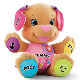Wholesale Fisher Dog Toys Baby Musical Plush Electronic Toys Dog Singing English Songs Learning amp Education Love To Play Puppy low price