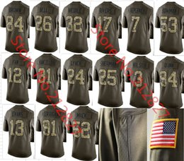 Wholesale Factory Outlet New Men s Colin Kaepernick Richard Sherman Army Green Salute To Service Limited Jersey size S M L XL XXL XL