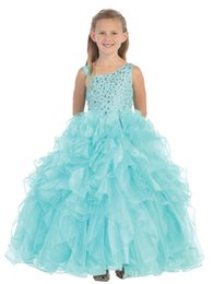 Robes de fille Pagent Lumière Bleu Ciel Organza Ball Gowns Beaded Crystals Long Longueur de plancher robe Pageant pour les enfants 2015 Dress For Teenage Girl à partir de robes de pagent perles fabricateur