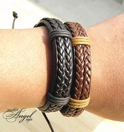 Double Genuine Leather Wrap Braided Bracelets wide Punk bangle Hemp Wristband Fashion Men women Handmade New wholesale 12pcs