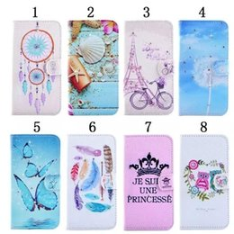 Wholesale Eiffel Tower Dreamcatcher Bling Diamond Shell Flower Butterfly Wallet Leather For Galaxy S7 Edge A310 A510 A710 Bicycle Holder Card Pouch
