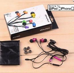 Compra Online El bajo piso-Nuevo Auscultador genuino Awei ES900i en el oído de metal Noodel Flat para Iphone IPOD Samsung HTC Xiaomi, Bajo claro con Mic auricular auricular MOQ: 50pcs
