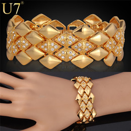 U7 Sale Luxury Bracelet For Women 18K Real Gold Platinum Plated Clear Rhinestone Bracelets Fashion Jewelry Accessories