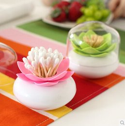 Wholesale New Lotus Cotton storage box swab box lotus cotton bud holder base room decorate Lotus Toothpicks holder Toothpick case CYB42