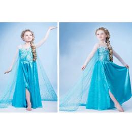 Vente en gros nouvel épaule Elsa Anna Cosply robe de soirée de Noël robe de bébé robe de princesse à manches longues dentelle Tutu Sequins robe DHL Free à partir de nouvelles robes de filles de noël fournisseurs