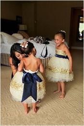 Golden Flower Gilrs Dresses Bateau Off The Shoulder Custom Made Cheap Flower Girl Dress Pageant Gown Royal Blue Ribbon Trim Zipper Organza