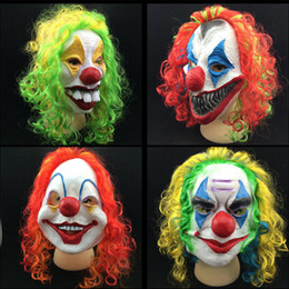 Wholesale New Clown Mask Long Curl Colorful Hair Latex Mask Carnival Halloween Mask Masquerade Party Costume