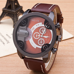 Antique leather big dial half circle wristwatch luxury men's business quartz watch fashion sports 3 circle watches bangle party festive gift
