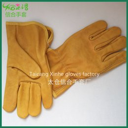 Wholesale Best Price high quality golden yellow real leather short welding glove
