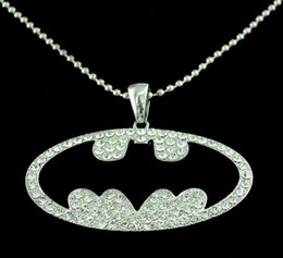 Wholesale Silver Beaded Chain stainless steel Clear Rhinestone Batman Bat Pendant Necklace