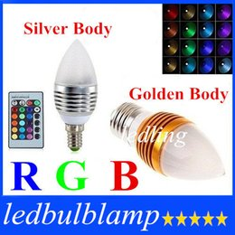 LED Silver Golden Led Candle RGB Bulb Lights AC220-240V 5W E27 E14 16 Colors Changable With 24 Keys Remote Control Frosted Cover