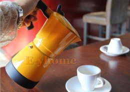 Wholesale New cups electric Mocha coffee pot Aluminum stovetop coffee maker Red Orange Purple Yellow espresso coffee machine keep warm function