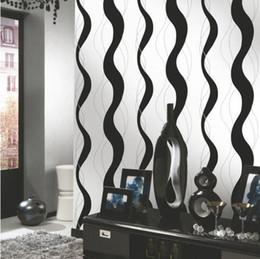 Wave line curve stripe geometric vinyl wallpaper roll 3d modern pvc wallpaper for living room black and white wallpaper W503