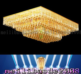 Wholesale Square Crystal Ceiling Lamp - TOP19 Modern Living Room Atmosphere Golden Rectangle   Square Crystal Lamp Bedroom Lights Lighting Ceiling Restaurant Dinning Room Villas