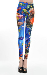 2013 Wholesale Women Lady Art Design Sexy Underwater World Printed Aquarium Leggings Blue Seamless supernova sale Pants New