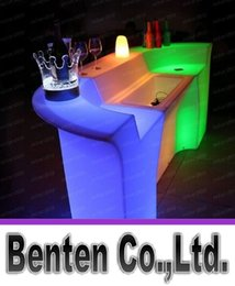 Wholesale Plastic LED Bar Table Color Changing Bar Counter Club Waiter Mobile Counters with ice cooler LLFA4871F