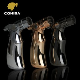 Wholesale COHIBA High Quality Titanium Metal Woodpecker Type Pocket Windproof Torch Jet Flame Inflation Cigar Lighter
