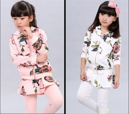 Wholesale 2015 Fashion Autumn Casual Girls Clothing Sets Shivering Printed Hoodie Suits For Children Coat Culotte Two Pieces Suits For Kids CR107